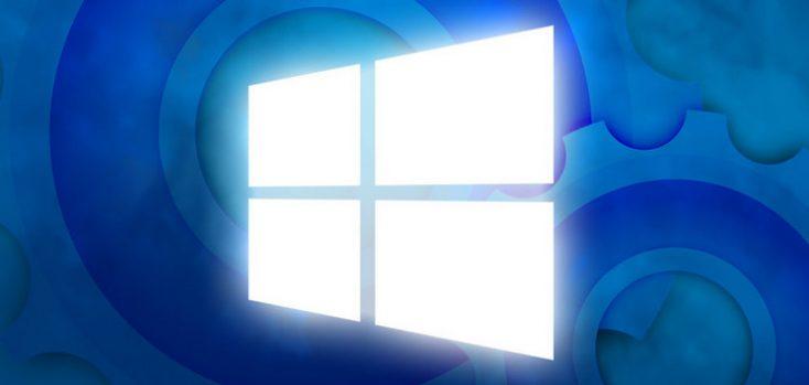 Логотип Windows на фоне механизма