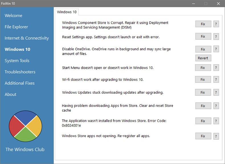 Раздел утилиты для Windows 10