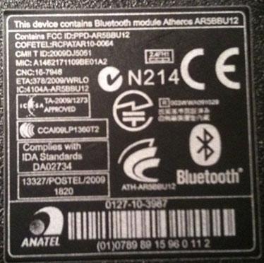 Наклейка информирующая об функции bluetooth