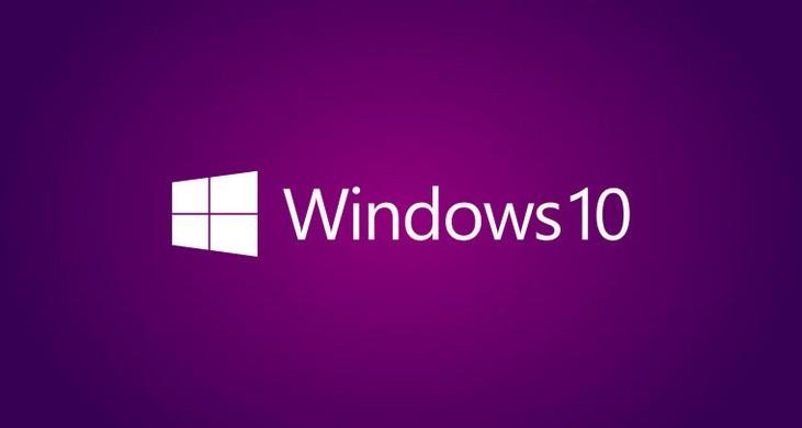 Логотип Windows 10 на фиолетовом фоне