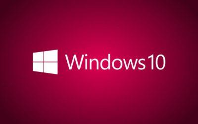 Логотип Windows 10 на малиновом фоне