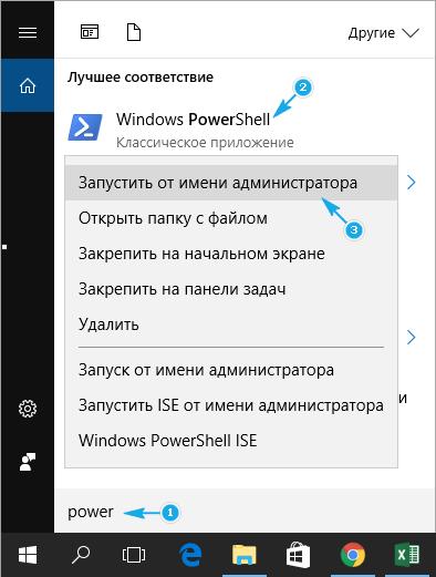 Открытие PowerShell от имени Администратора