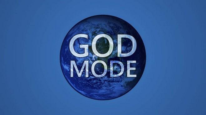 Название God Mode на фое земного шара