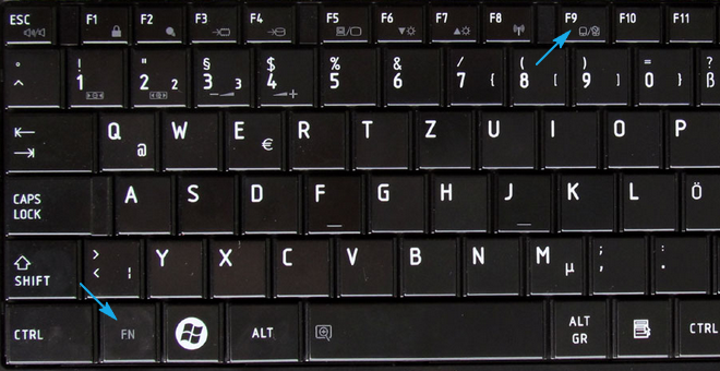 Кнопки отключения тачпада на Toshiba