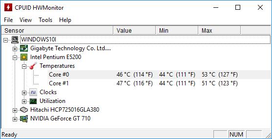Программа для снятия показателей температуры HWMonitor