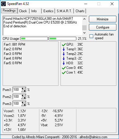 Программа отображения температуры SpeedFan