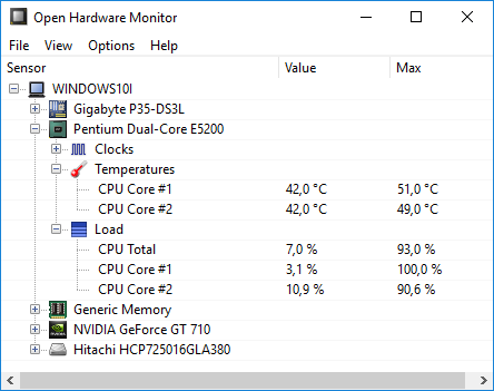 Проверка температуры процессора програмой Open Hardware Monitor
