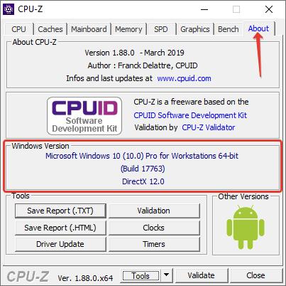 Сведения о системе в программе CPU-Z