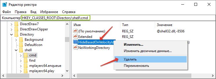 Удаление параметра HideBasedOnVelocityId из реестра