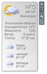 Виджет погоды в программе 8GadgetPack