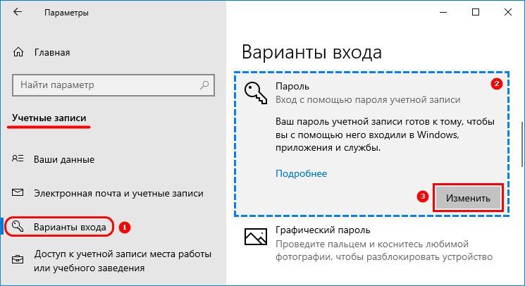 Изменить пароль учетной записи в параметрах