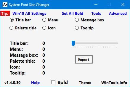 Программа System Font Size Changer
