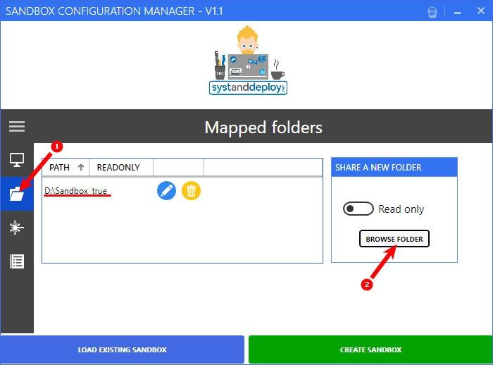 Настройка пункта Mapped Folders