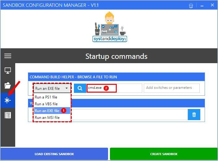 Настройка пункта Startup Commands