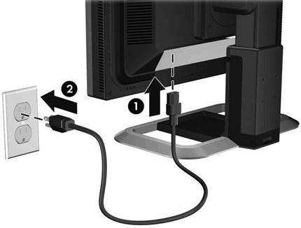 Подключение кабеля к сети и монитору
